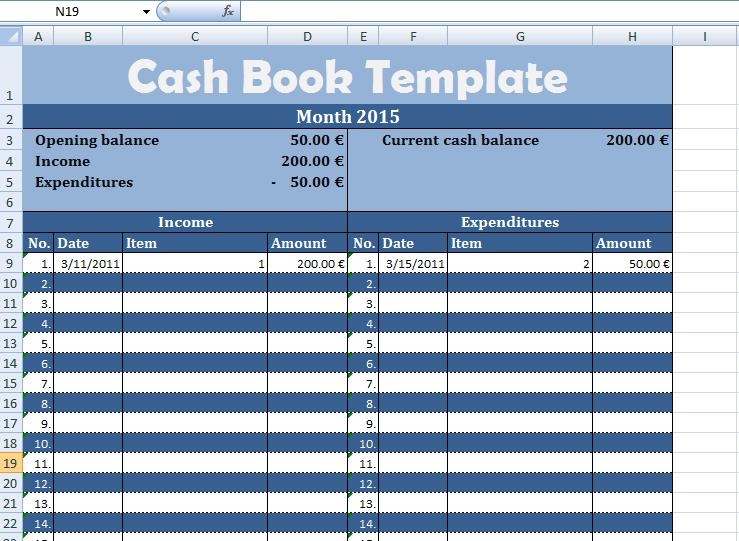 Get Cash Book Template | Exceltemple