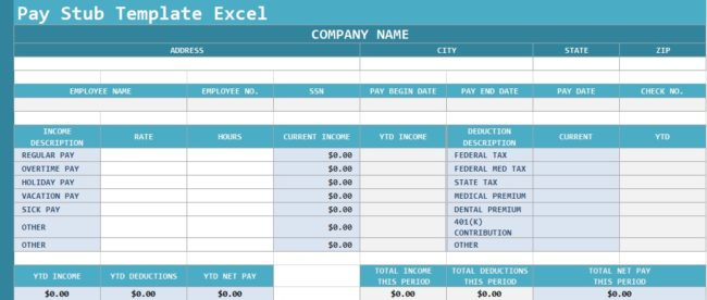 Pay Stub Template Excel
