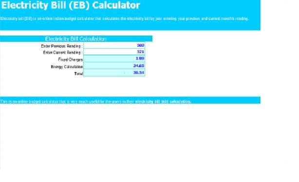 Electricity Bill Calculator Template