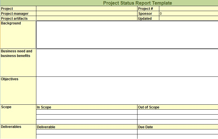 Project Status Report Template  Project Status Report Excel