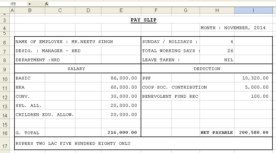 Get Salary Slip Format in Excel Microsoft Excel Templates – Sample Pay Slip