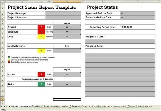 Project report template exceltemple for Project status executive summary template