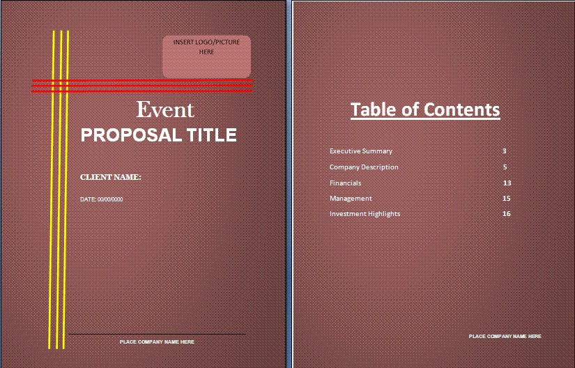Get Event Proposal Template Microsoft Excel Templates