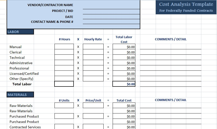Get cost analysis template exceltemple for Cost price analysis template
