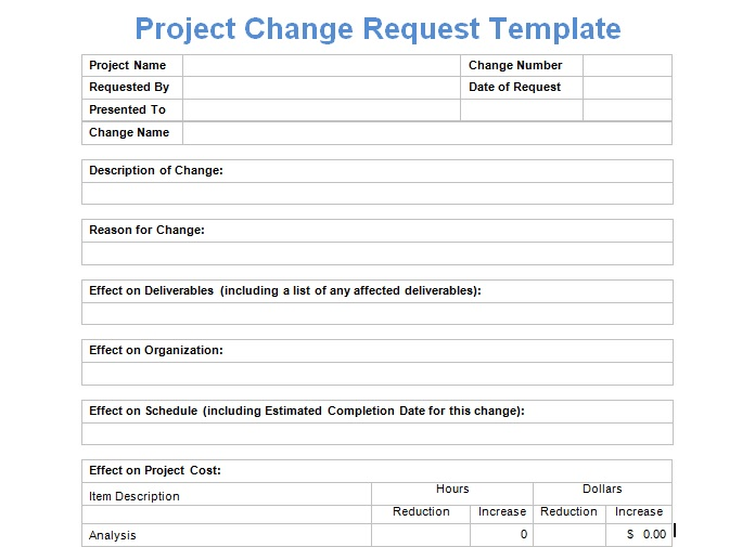 Project Change Request Template - Microsoft Excel Templates