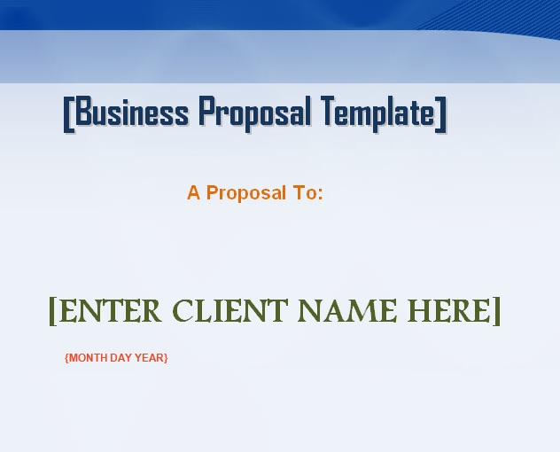 Professional Business Proposal Template Word - Microsoft Excel