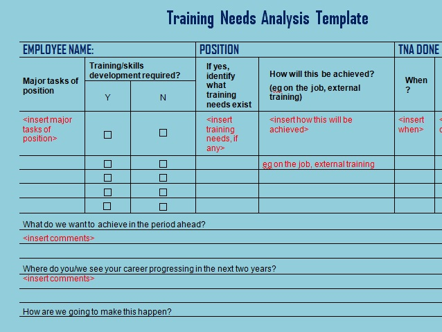 Get Training Needs Analysis Template - Microsoft Excel Templates