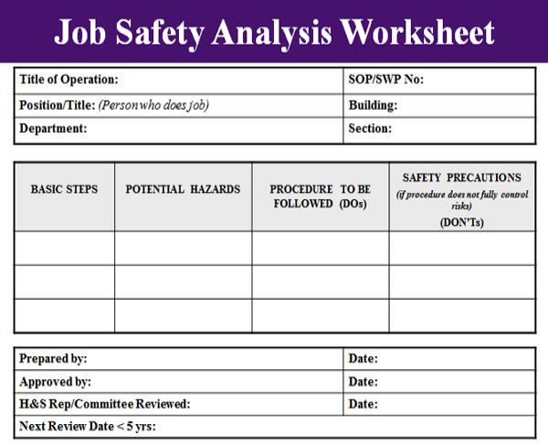 Printables Job Safety Analysis Worksheet job safety analysis template microsoft excel templates template