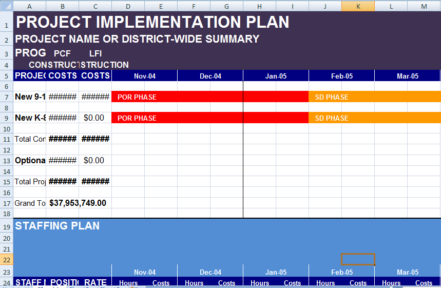 Project implementation plan template excel exceltemple for Implementation approach template