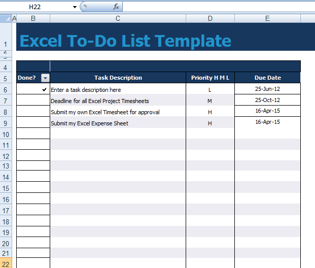 Get to do list template excel xls exceltemple for Template for daily tasks