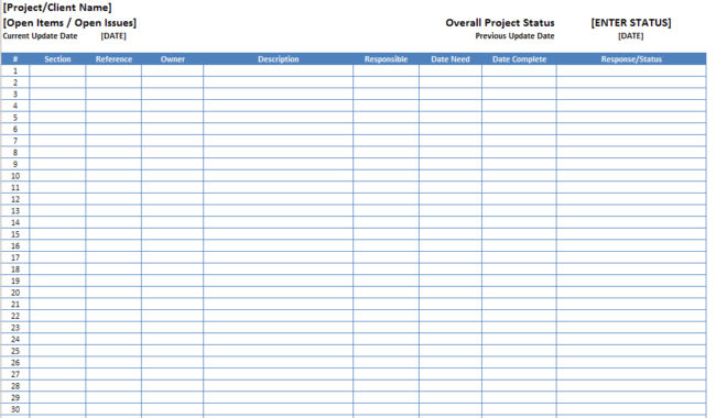 Open Items Issues Log List Template Excel XLS - Microsoft