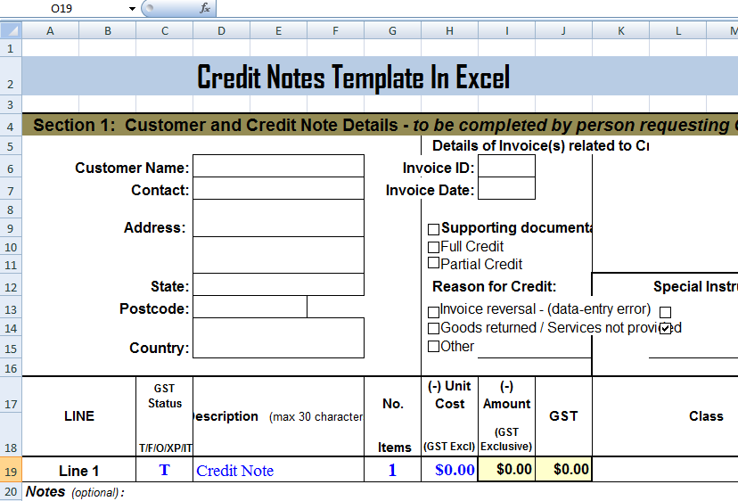 Credit Notes Template In Excel  Debit Note Sample