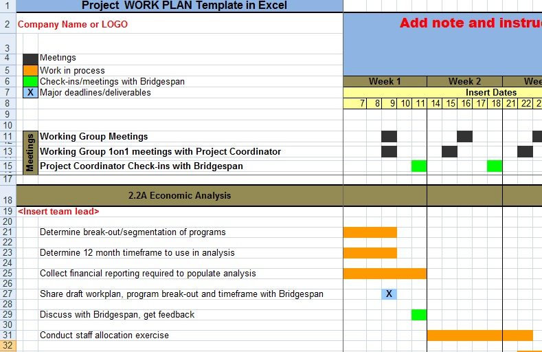 Project Work Plan Template In Excel Xls - Microsoft Excel Templates