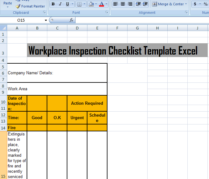 work place inspection checklist template excel