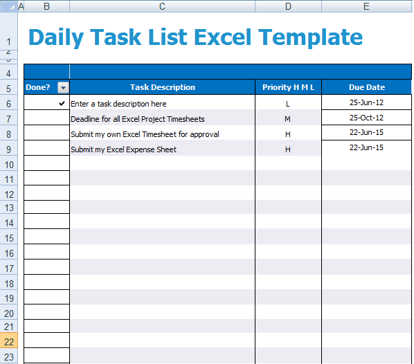 daily task list excel template xls