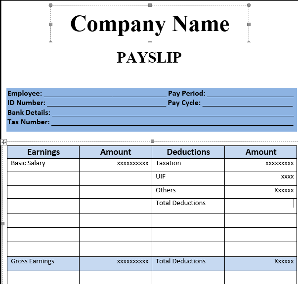 Payslip Template Format In Excel And Word Microsoft Excel Templates – Blank Wage Slips