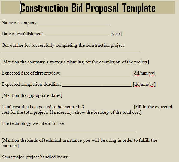 Construction bid proposal template microsoft excel templates for How to create a proposal template in word