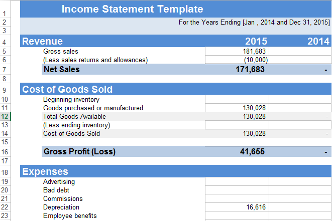 Income Statement Template Excel XLS | Exceltemple