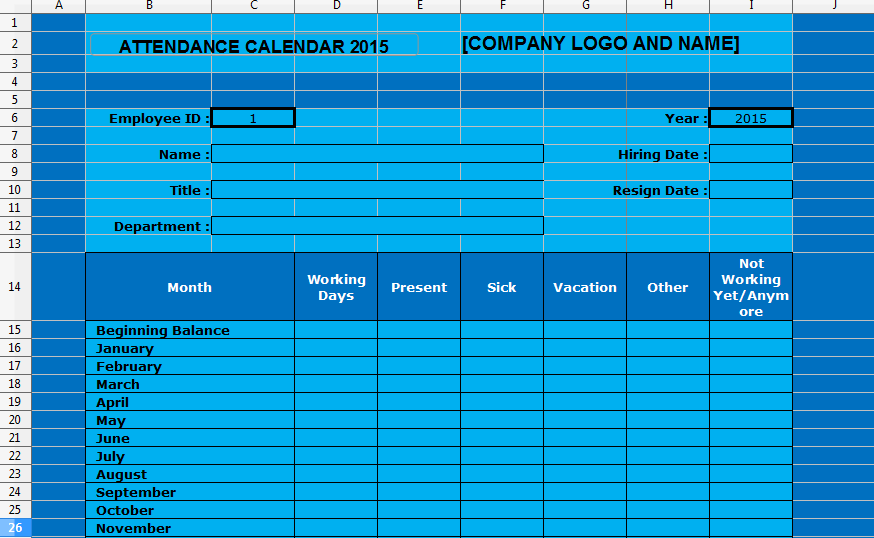 Employee Attendance Tracking Calendar Template 2015 – Sample Attendance Tracking