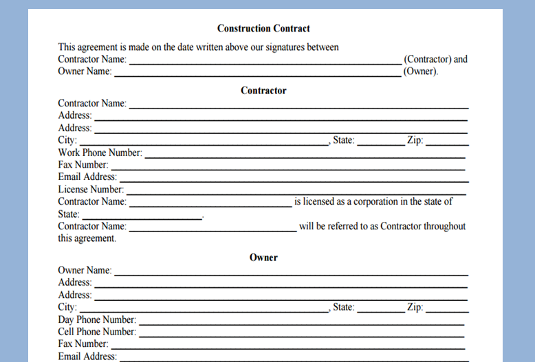 Get Project Construction Contract Template Microsoft