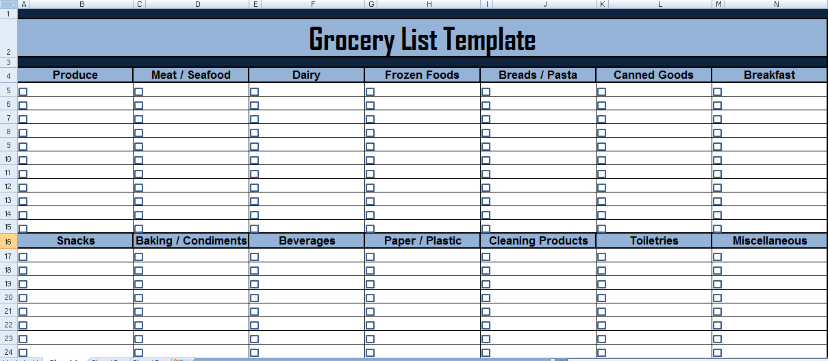 grocery list xls