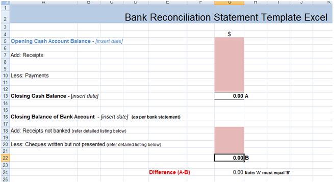 Bank reconciliation statement excel template xls for Free bank statement template