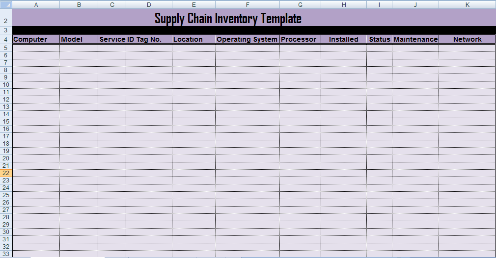 Professional Supply Inventory Template Excel – Supply Inventory Template