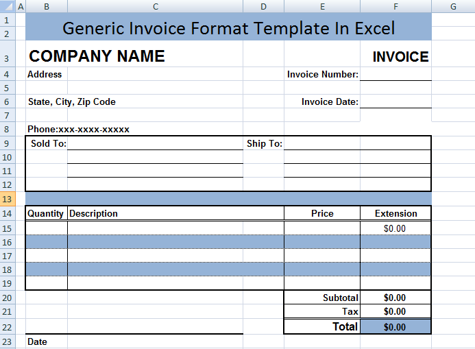 generic invoice format template in excel microsoft excel templates. Black Bedroom Furniture Sets. Home Design Ideas