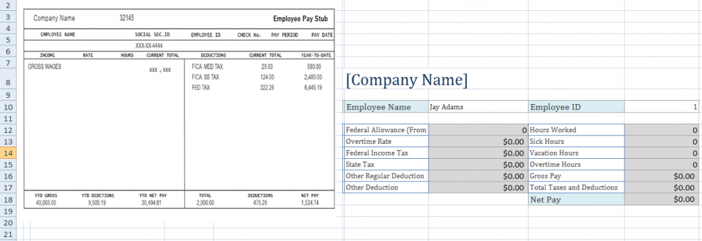 template for payroll check stub - free employee pay stub excel template microsoft excel