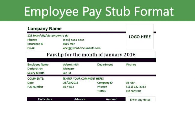 free employee pay stub excel template