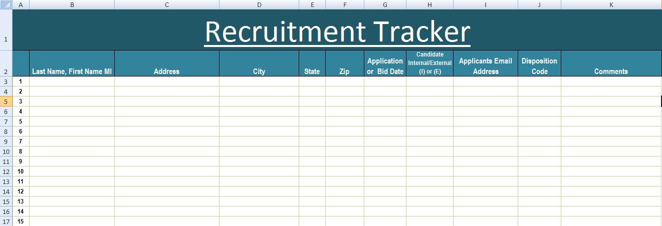 Recruitment Tracker Excel Template XLS