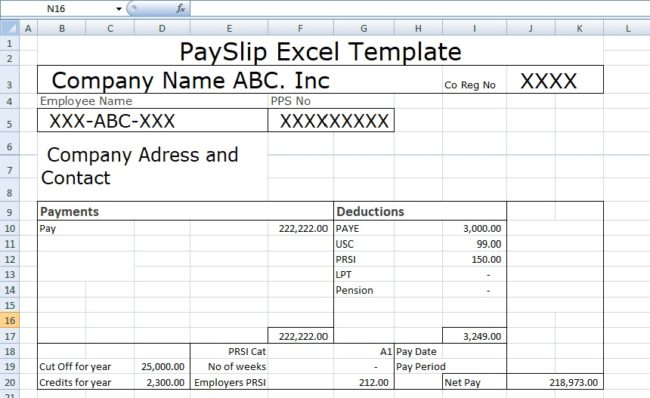 Payslip template format in excel and word microsoft for Nsw payslip template