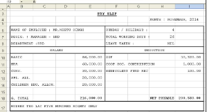 Salary Slip Format in Excel