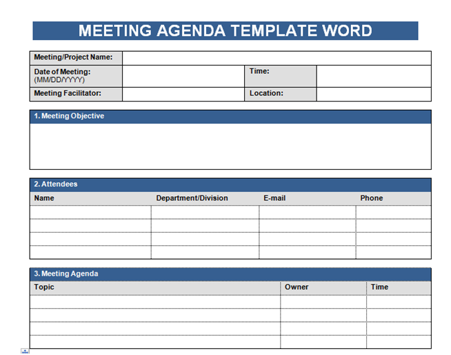 Creating Free Meeting Agenda Template In Word  Microsoft Agenda Template