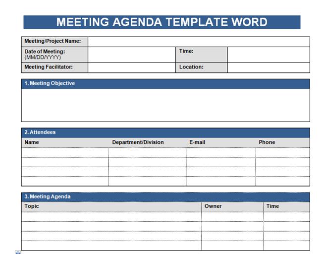 Get Free Meeting Agenda Template In Word - Microsoft Excel ...