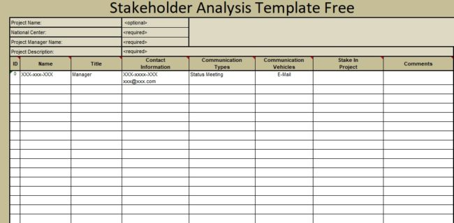 Stakeholder analysis template free exceltemple for Information mapping word template
