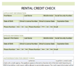 Credit Check Forms for Rentals Word