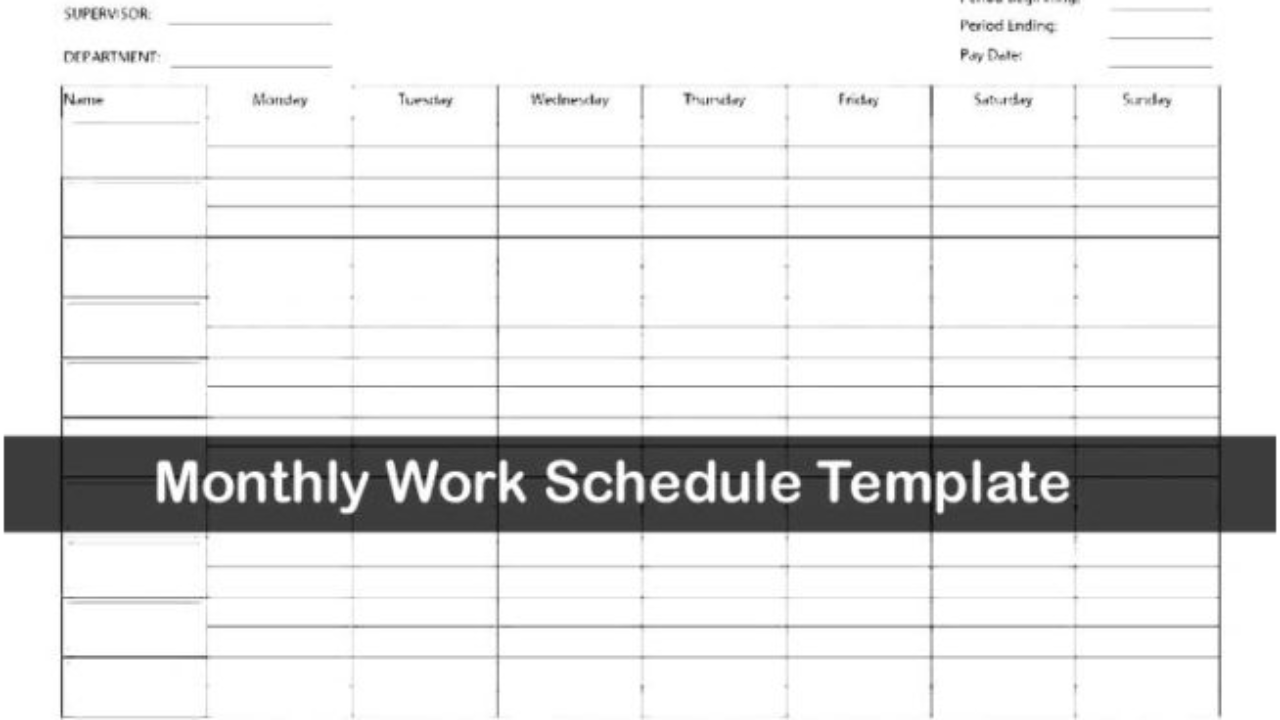 Monthly Work Schedule Template Excel Exceltemple