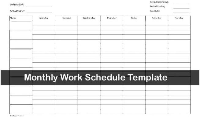 Monthly work schedule template excel