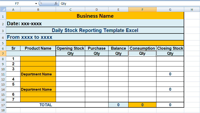 Daily Stock Reporting Template Excel