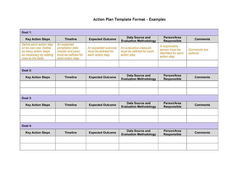 Action Plan Template Format Examples